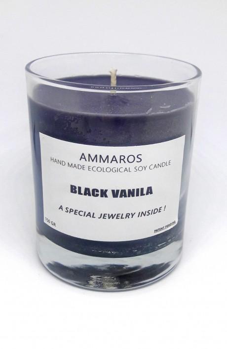 נר שעוות סויה עם תכשיט Black Vanilla