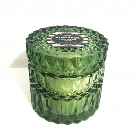 נר שעוות סויה בכלי זכוכית מהודר ירוק בניחוח Lychee & Peony