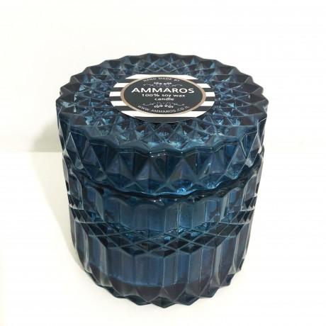 נר שעוות סויה בכלי זכוכית מהודר כחול בניחוח Go Nuts For Coconuts